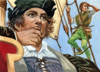 Cristopher Columbus seeing the New World Reprodukcija
