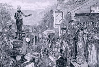 'General Jackson, president-elect, on his way to Washington', illustration from 'A Presidential Progress', pub. in Harper's Weekly, 1881 Reprodukcija