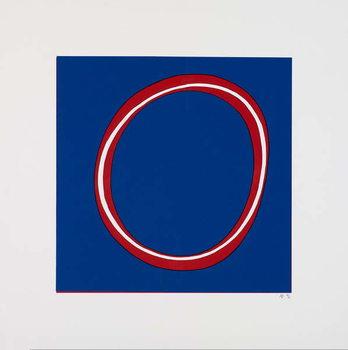 Red Circle on Blue Reprodukcija