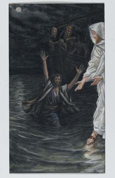 Saint Peter Walks on the Sea, illustration from 'The Life of Our Lord Jesus Christ' Reprodukcija