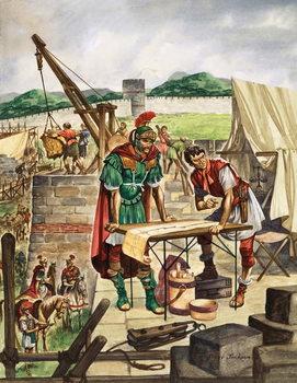 The Emperor Hadrian checks work Reprodukcija