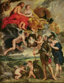 The Medici Cycle: Henri IV (1553-1610) Receiving the Portrait of Marie de Medici (1573-1642) 1621-25 Reprodukcija
