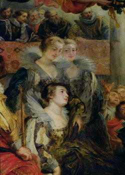 The Medici Cycle: The Coronation of Marie de Medici (1573-1642) at St. Denis, 13th May 1610, detail of the Princesses of Guemenee and Conti, 1621-25 Reprodukcija