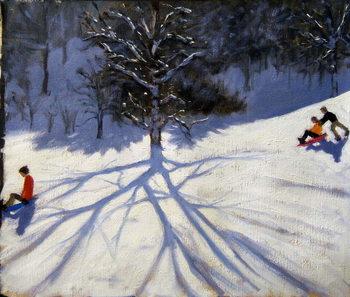 Tree and two tobogganers Reprodukcija