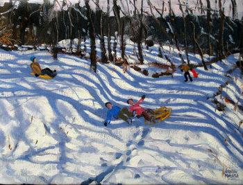 Two boys falling off a sledge, Morzine Reprodukcija
