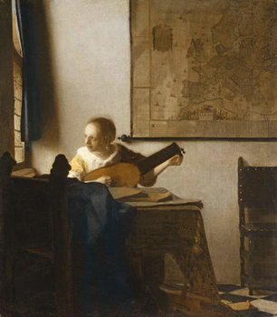 Woman with a Lute, c.1662-1663 Reprodukcija