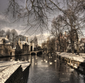 Ekskluzivna fotografska umetnost Bruges in Christmas dress