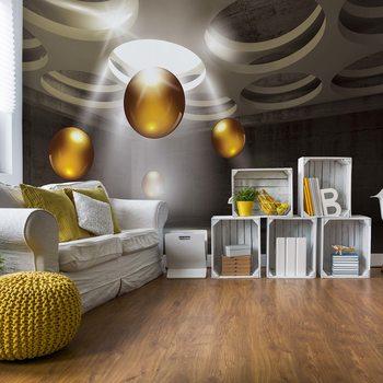 Fotomural 3D Modern Design Gold Spheres