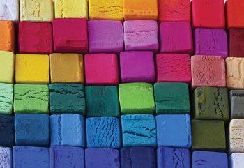 Fotomural  3D Wood Blocks Multicoloured