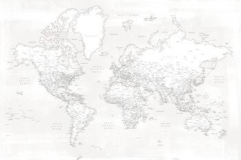 Fotomural Almost white detailed world map