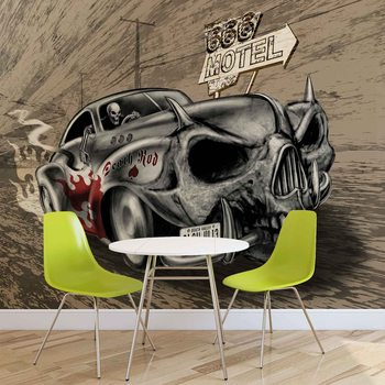 Fotomural Alquimia Death Hot Rod Car Skull