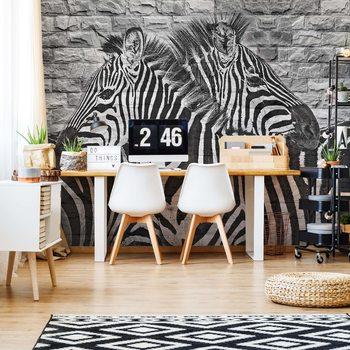 Fotomural Brick Wall Zebras