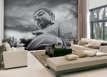 Fotomural  Buddha - Black and white