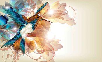Fotomural Colibris flores abstractos