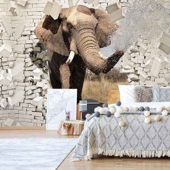 Fotomural  Elephant Bursting Through Brick Wall