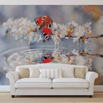 Fotomural Escena de flores de mariposa