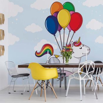 Fotomural Flying Unicorn With Balloons