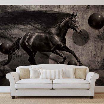 Fotomural Horse Spheres Black 3D