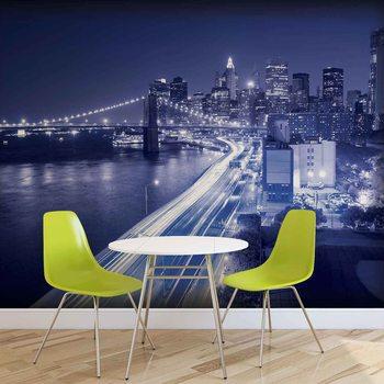 Fotomural Luces del puente de Brooklyn de la ciudad de Nueva York