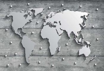 Fotomural Modern 3D World Map Concrete Texture