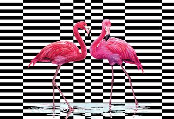 Fotomural Modern Tropical Flamingos