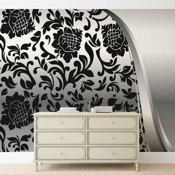 Fotomural  Negro patron de flores de plata