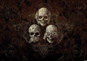 Fotomurale No Listen See Speak Skull Alchemy