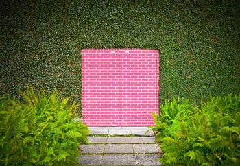 Fotomural  Pink Brick Door