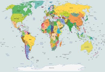 Fotomural  Political World Map Atlas