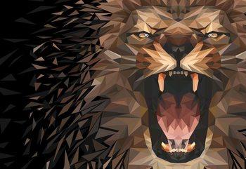 Fotomural Polygon Lion Dark Colours