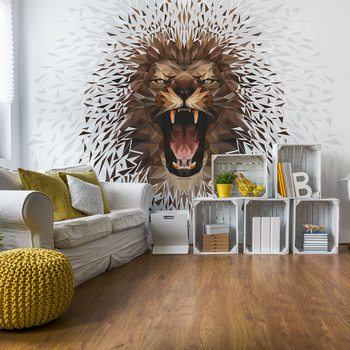 Fotomural Polygon Lion Ligh Colours