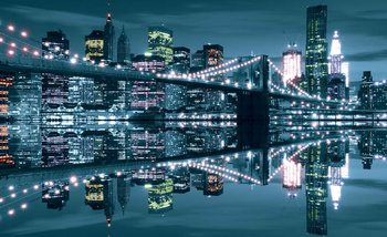 Fotomural Puente de Brooklyn del horizonte de New York City