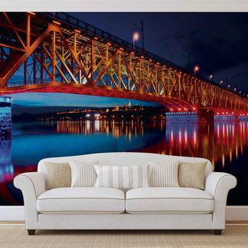 Fotomural Puente de la ciudad Puente Noche de reflexión