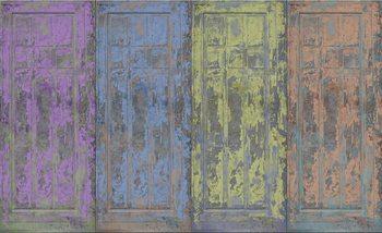 Fotomural Puertas de madera pintada rustica