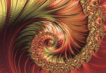 Fotomural  Red Modern Abstract Spiral Design