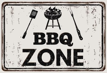 Fotomural  Retro Sign Bbq Zone