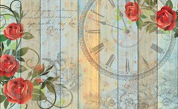 Fotomural Rosas Reloj Madera Tablones Vintage