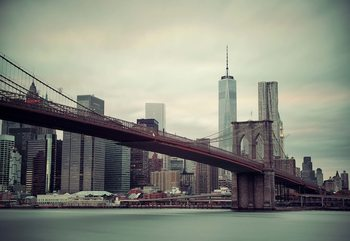Fotomural  Sepia New York City Skyline Brooklyn Bridge
