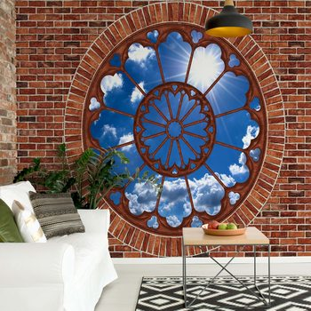 Fotomural Sky Ornamental Window View Brick Wall