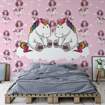 Fotomural  Sweet Unicorns Pink