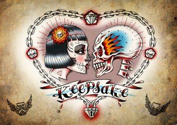 Fotomural  Tatuaje de corazon y craneo