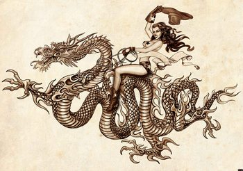 Fotomural  Tatuaje de dragon