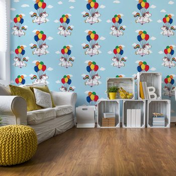 Fotomural Unicorns And Balloons Pattern Blue