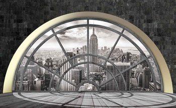 Fotomural Ventana del horizonte de la ciudad de Nueva York