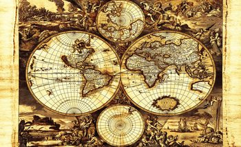 Fotomurale Vintage del mapa del mundo