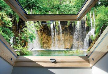 Fotomural Waterfall 3D Skylight Window View