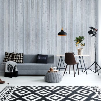Fotomural Wood Planks Light Grey