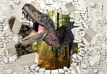 3D Dinosaur Bursting Through Brick Wall Fototapet