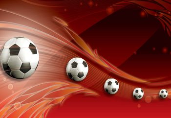 3D Footballs Red Background Fototapet