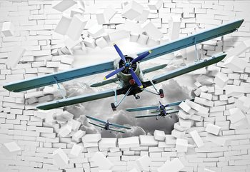 3D Plane Bursting Through Brick Wall Fototapet
